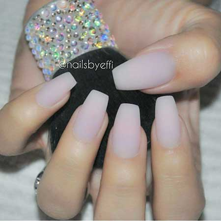 Clear Matte Coffin Nail