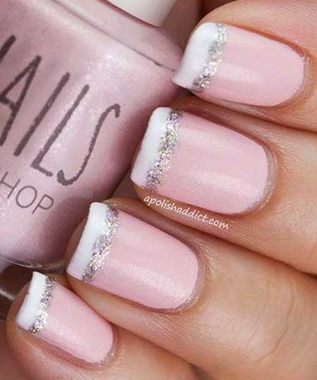 French Manicure, Pink Wedding French, Pink, White