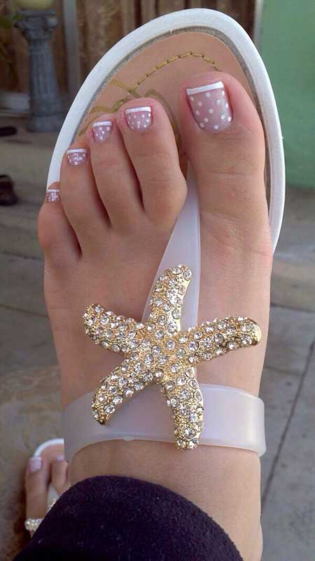 Wedding Toe Nail, Glitter, French French Manicure, Dot