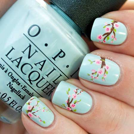 Blossom Nail, Spring Cherry Blossoms, Flower Nail, Polish, Art,