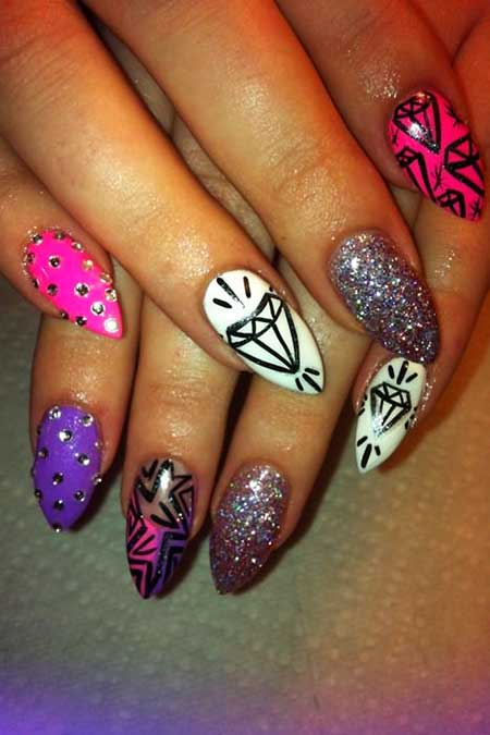 Nail, Art, Tribal Nail, Gold Nail Gold, Shape, Diamonds, Tribal, S,
