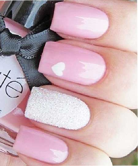 Pink Pink, Nail Polish, Glitter Nail, Polish, White, Beautiful, Idea