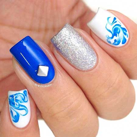 Blue, Polish, Glitter Nail, Blue Glitter, Idea, Art