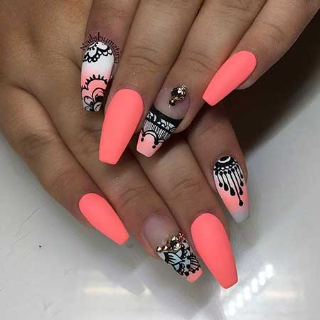 Ails, Summer Lace Nail, Coffinneon Nail, Neon, Matte