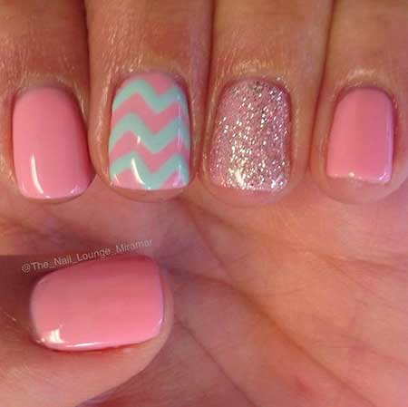 Pink, Summer Anchor Nail, Pink Polish, Pretty Nail, Glitter Nail, Anchor, Chevron,
