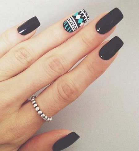 Black Nail, Accent Nail, Tribal Nail, Long Art, Fashionlong, Black, Girl [