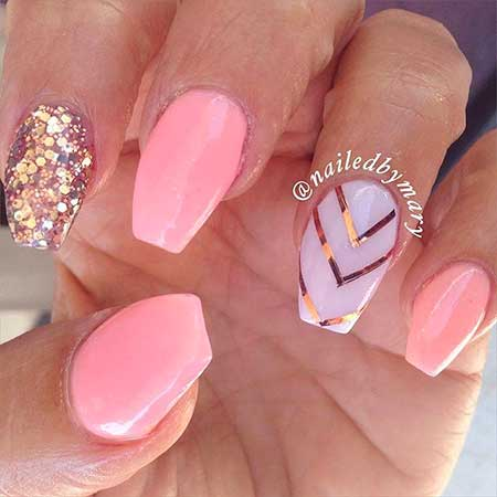 Nail, Pink Pink, Art, Summergold, Coffin, Rose, Summer