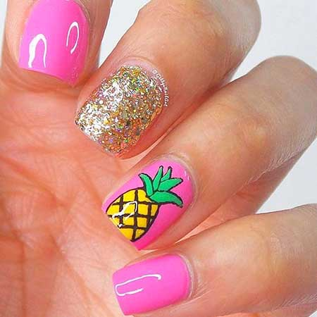 Nail, Summer Art Feather Nail, Print, Pink, Feather, Summer
