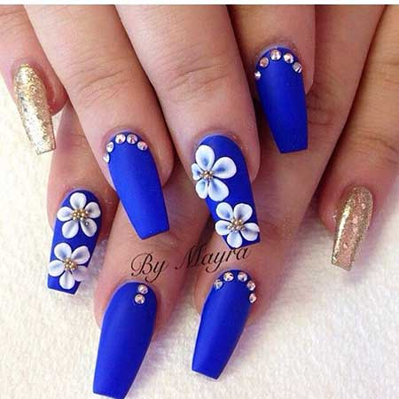 Nail, Art, Blue Blue Pretty Nail, Flowers