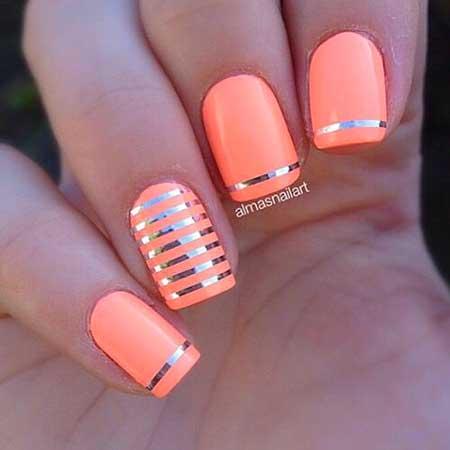 Coral Nail, Summer Nail, Orange S, Orange, Coral