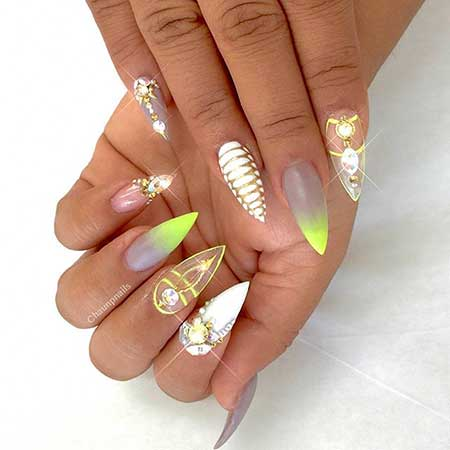 Nail, Stiletto Art, Wedding3D Stiletto, Wedding, 2017, Summer