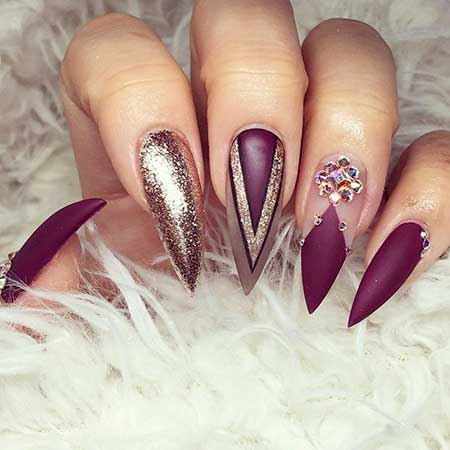 Polish, Glitter, Stiletto Purple, Nail Polish, Art, Burgundy, Stiletto, Girl