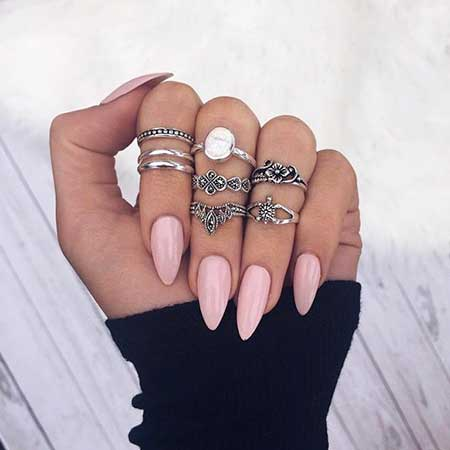 Nail Ring, Rings, Midi Rings, Knuckle Rings, Almond Acrylic Summer Midi