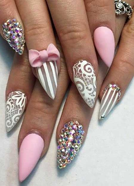 Nail, Art, Stiletto Pretty Nail, White Nail, White, Striped, Stiletto