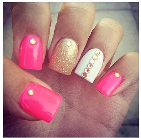 Pink Nail Pink, Pretty Nail, Summer Art, White, Summer