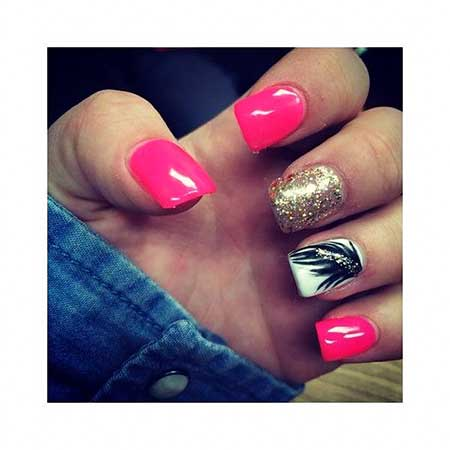 Pink Pink, Glitter, Chevron Nail, Summer Chevron, Simple