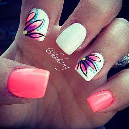 Summerflower Nail, Spring Art, Pinkpink, Floral