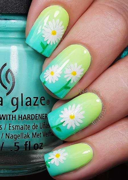 Neon Nail, Summerflower Nail, Neon, Art, Floral