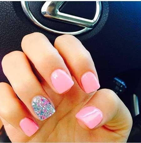 Pink Nail, Pink, Accent Nail, Pretty Nail, Summer Short