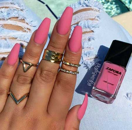 Pretty Nail, Pink Matte Nail, Nail Color, Acrylic Matte, Pink, Color