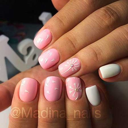 Pink, Art, Pink Manicures, Simple White, Simple, Acrylic