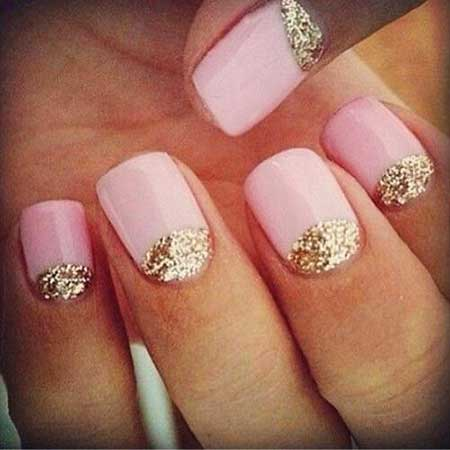 Half Moons Gold Nail, Pink And Gold, Pink Pink, Glitter, Gold, Moons, Half, Simple