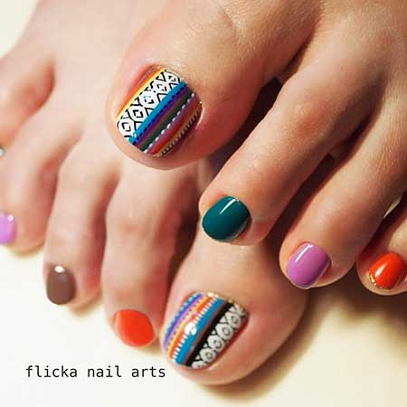 Nail, Art, Colortribal Nail, Geometric Nail, July Color, Geometric, Tribal, July, Idea,