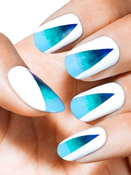 Blue, Cloud Nail, Art, Nail Polish, Polish, Heart Nail, Bright, Heart, Summer, Idea