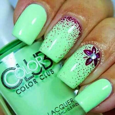 Nail, Summer Polish, Green Art, Neon Nail, Green, Neon, Color