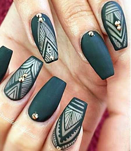 Dark Green Nail Design - 13 New Tribal Nail Designs – Nail Designs 2017