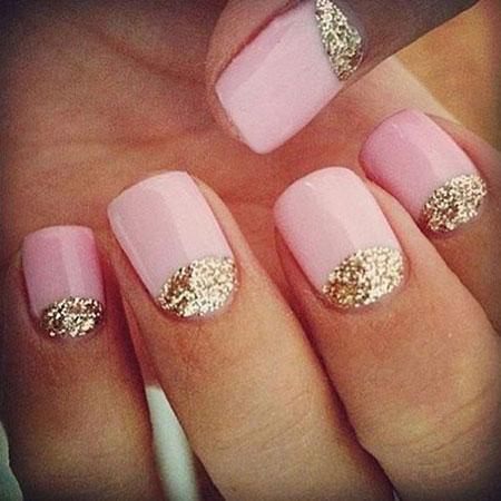 Gold Pink Nail Nails