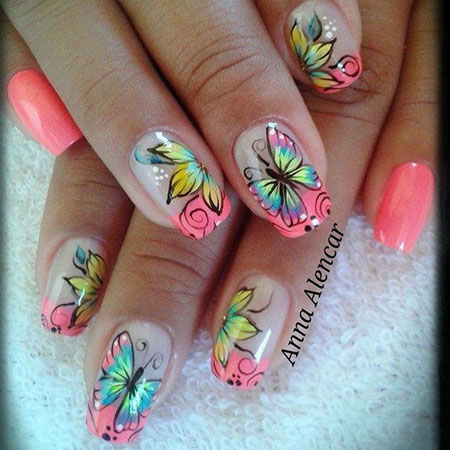 Nail Butterfly Summer Design