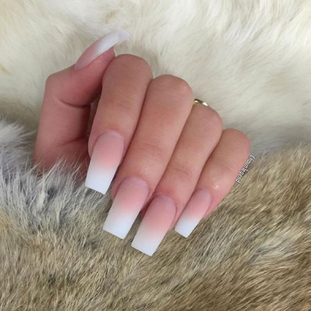 Long Acrylic Nails French Ombre, Nail French Acrylic Coffin
