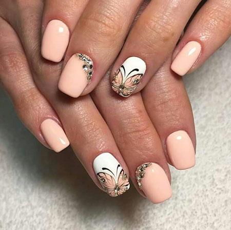 Nail Manicure Peach Design