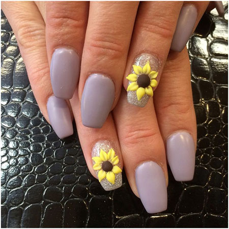 Best Sunflower 3D Nail Art, Nail 3D Nails Matte