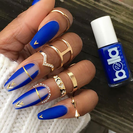Blue Coffin Nail Art, Blue Nails Nail Coffin