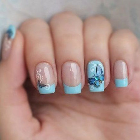 Blue Butterfly Design on Nails, Nails Nail French Manicure