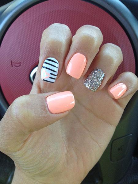 Summer Pink Heart Nail Design, Nail Heart Summer Pink