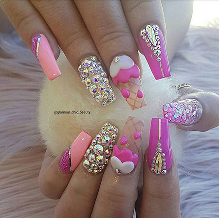 Cute Ice Cream Nail Design 2018, Nail Nails Best Blue