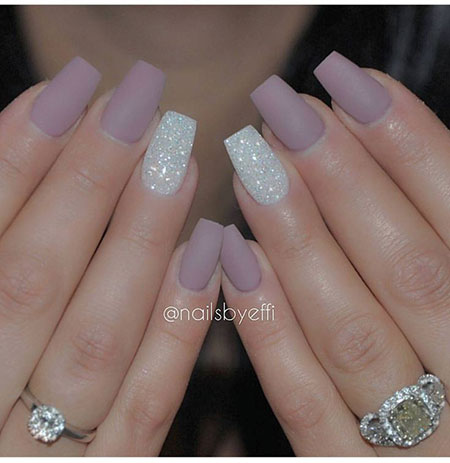 Classy Matte Nails with Glitter, Nail Glitter Nails Square