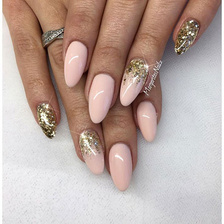 Nude and Gold Glittered Nails, Nails Nail Nude Gold