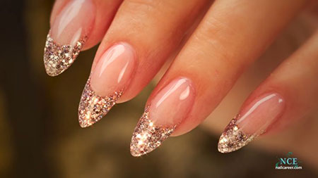 Almond French Glitter Nails, Nail Almond French Glitter