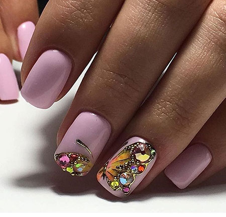 Nail Art with Butterflies and Rhinestones, Nail Manicure Nails Design
