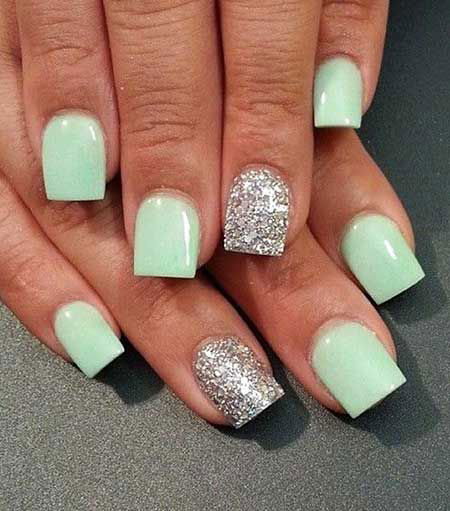 Mint Green on Square Acrylic Nails, Nail Acrylic Nails 2017