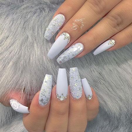 Glitter White And Silver Acrylic Nails Nail Coffin Fiina