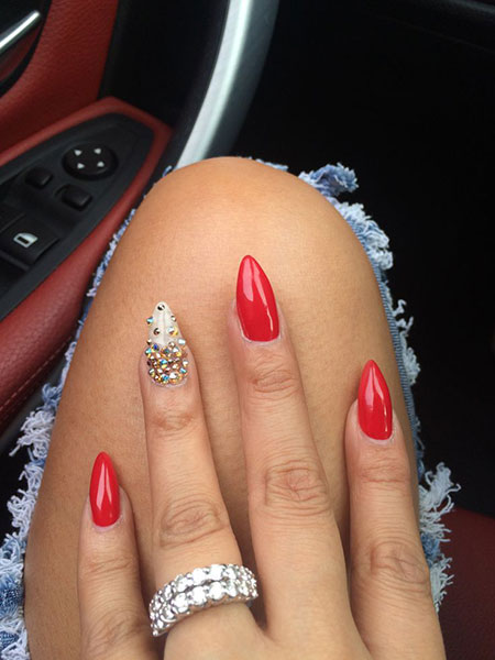 Short Stiletto Red Acrylic Nail Design, Red Nail Stiletto Nails
