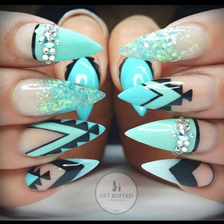 Nails Nail Stiletto Blue