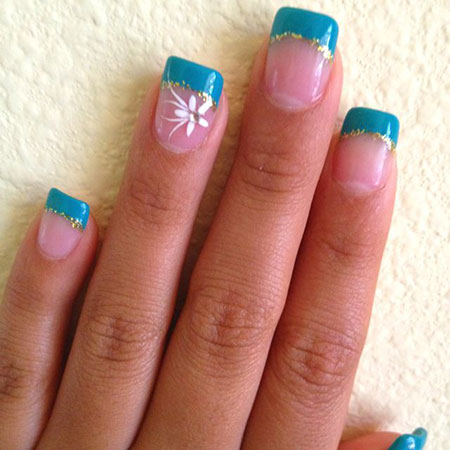 Nail Manicure Temporary Teal