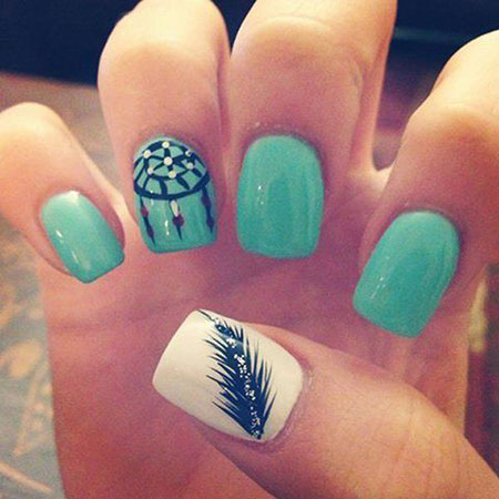 13- Trendy Nail Design - 23 Teal Nail Designs Best Nail Art Designs 2018