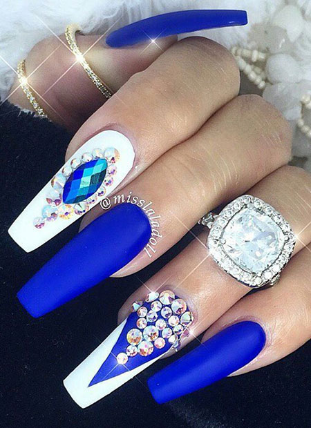 Blue Long Coffin Nails Design, Nails Nail Blue Rhinestone